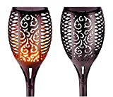 GetherDirect Solar Torch Lights – Waterproof Solar Tiki Torches Outdoor Flickering Flame Lights...