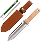 Hori Hori Garden Knife with Diamond Sharpening Rod, Thickest Leather Sheath and Extra Sharp Blade -...