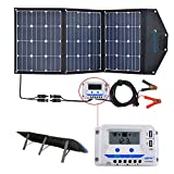 ACOPOWER 120W Portable Solar Panel, 12V Foldable Solar Charger with 10A Charge Controller in...