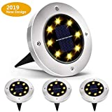 Biling Solar Ground Lights,Solar Disk Lights 8 LED Bulbs Outdoor Waterproof Solar Garden Lights for...