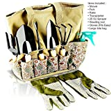 Scuddles Garden Tools Set - 8 Piece Heavy Duty Gardening tools With Storage Organizer, Ergonomic...