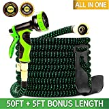 Garden Hose 55 Feet, Expandable, Lightweight, High Density 3750D Outer Fabric, Durable Double Latex...