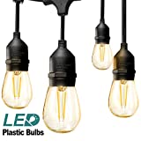 addlon LED Outdoor String Lights 48FT with 2W Dimmable Edison Vintage Plastic Bulbs and Commercial...