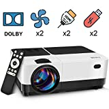 Wsky Video Portable Projector Outdoor Home Theater, LED LCD HD 1080p Supported with Dual Speakers,...
