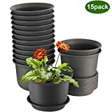 ZOUTOG Flower Pots 6 inch Plastic Planters with Drainage Hole and Tray, Pack of 15 - Plants Not...