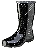 Sloggers Women's Waterproof Rain and Garden Boot with Comfort Insole, Black/White Polka Dot, Size...