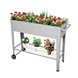 Raised Planter Box with Wheels Elevated Garden Bed Planter for Vegetables Fruits Herb Grow