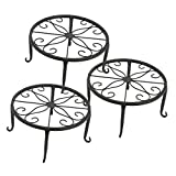 Tosnail 3 Pack Metal Potted Plant Stands Plant Holder (Black)