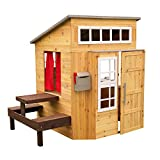 KidKraft Modern Outdoor Wooden Playhouse with Picnic Table, Mailbox and Outdoor Grill (00182),...