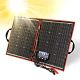DOKIO 80 watt 12 volt Folding Solar Panel Kit for Camping (LIGHTWEIGHT 4lb) Solar Chargers with Dual...