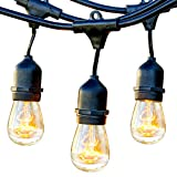 Brightech Ambience Pro - Waterproof Outdoor String Lights - Hanging Industrial 11W Edison Bulbs - 48...