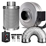 iPower GLFANXINL4FILT4MD8CTR 4 Inch 190 CFM Inline Fan Carbon Filter 8 Feet Ducting Combo with...