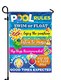 Pool Rules Signs and Decorations Outdoor, Summer Garden Flag Double Sided Burlap 12x18Inch