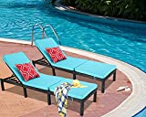 Do4U Outdoor Patio Chaise Lounges Chairs Set of 2 Adjustable with Cushions Pool Garden Balcony...