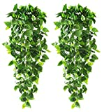 CEWOR 2pcs Artificial Hanging Plants 3.6ft Fake Ivy Vine Fake Ivy Leaves for Wall Home Room Garden...