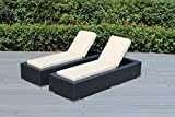 Ohana 2-Piece Outdoor Patio Furniture Chaise Lounge Set, Black Wicker with Beige Cushions - No...