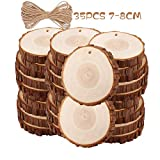 Natural Wood Slices TICIOSH 35 Pcs 2.8-3.1 inches Craft Unfinished Wood kit Predrilled with Hole...