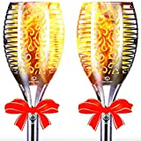 GetherDirect Solar Torch Lights – Outdoor Solar Tiki Torches Waterproof Flickering Flame Lights...