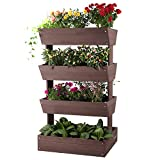 Aivituvin Vertical Raised Garden Bed with 4 Containers, Elevated Freestanding Herb Planter Box...