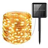 AMIR Upgraded Solar Powered String Lights, Mini 100 LED Copper Wire Lights, Fairy Lights, Indoor...