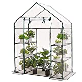 AMERLIFE Mini Walk-in Greenhouse 3 Tier 4 Shelves with PVC Cover and Roll-Up Zipper Door,for Indoor...