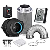 iPower GLFANXEXPSET4D25CHUMD 4 Inch 150 CFM Inline Filter 25 Feet Ducting with Fan Speed Controller...
