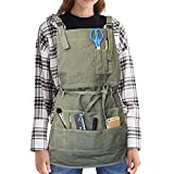 TeaJayF Apron,Canvas Painting Apron with 10 Pockets, Paint Shop Artist Waxed Aprons for Women Men...