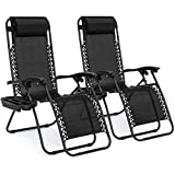 Best Choice Products Set of 2 Adjustable Steel Mesh Zero Gravity Lounge Chair Recliners w/ Pillows...