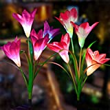 Outdoor Solar Garden Stake Lights - 2 Pack Solarmart Solar Powered Lights with 8 Lily Flower,...