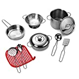 Playkidz: Super Durable 11 Piece Stainless Steel Pots and Pans Cookware Playset for Kids Pretend...