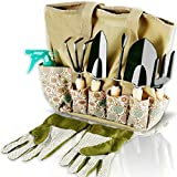 Scuddles Garden Tools Set - 8 Piece Heavy Duty Gardening Kit with Storage Organizer, Ergonomic Hand...