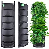 Meiwo New Upgraded Deeper and Bigger 7 Pocket Hanging Vertical Garden Wall Planter for Yard Garden...