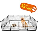 TOOCA Dog Pen 16 Panels 32' Height RV Dog Fence Playpens Exercise Pen for Dogs, Metal, Outdoor,...