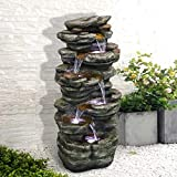 """SunJet 6-Tiers Rocks Outdoor Water Fountain - 40"""" High Cascading Waterfall with LED Lights,..."""