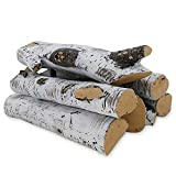 QuliMetal Ceramic White Birch Wood Log, Large Gas Fireplace Logs Set for Fireplaces, Fire Pits, Gas...