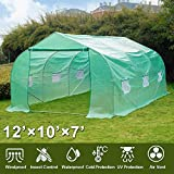 Greenhouse, 12' X 10' X 7' Portable Green Houses Tunnel Tent, Large Walk-in Heavy Duty Green Garden...