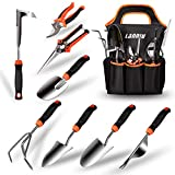 LANNIU Garden Tool Set, 9 Piece Stainless Steel Heavy Duty Gardening Tool Set, with Non-Slip Rubber...