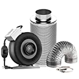 VIVOSUN Air Filtration Kit: 4 Inch 203 CFM Inline Fan with Speed Controller, 4'' Carbon Filter and 8...