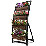 6-Ft Raised Garden Bed - Vertical Garden Freestanding Elevated Planter with 4 Container Boxes - Good...