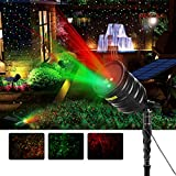 Suaoki Solar Projector Lights Red/Green Star Lights Laser Light Waterproof with Built-in 2600mAh...