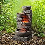 Peaktop 201601PT Outdoor Garden Water Stacked 3 Tier Bowls Waterfall Fountain with LED Light, 33'...