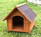 Captain Pet A-Frame Waterproof Natural Solid Wooden Dog Kennel, Large