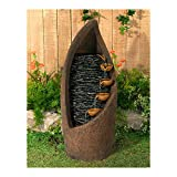Modern Cascade Rustic Outdoor Floor Water Fountain with Light LED 34 1/2' High Southwestern...