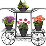 Sorbus Garden Cart Stand & Flower Pot Plant Holder Display Rack, 6 Tiers, Parisian Style - Perfect...