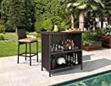 Ulax 3-Piece Patio Outdoor Backyard Wicker Bar Set with Table and Two Stools