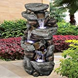 SunJet 5-Tier Outdoor Water Fountain with LED Lights - 40in Rock Water Fountain for Home Garden,...