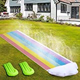 Lawn Water Slides Slip for Kids - 15.7FT Slip and Slide Water Slide with 2 Bodyboards, Double Race...