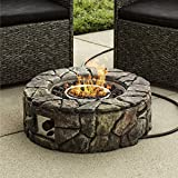 Best Choice Products Outdoor Patio Natural Stone Gas Fire Pit for Backyard and Garden w/Cover,...