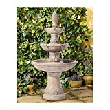 John Timberland Domanico Outdoor Floor Water Fountain 57' Tan 3-Tiered Floor Cascading for Yard...