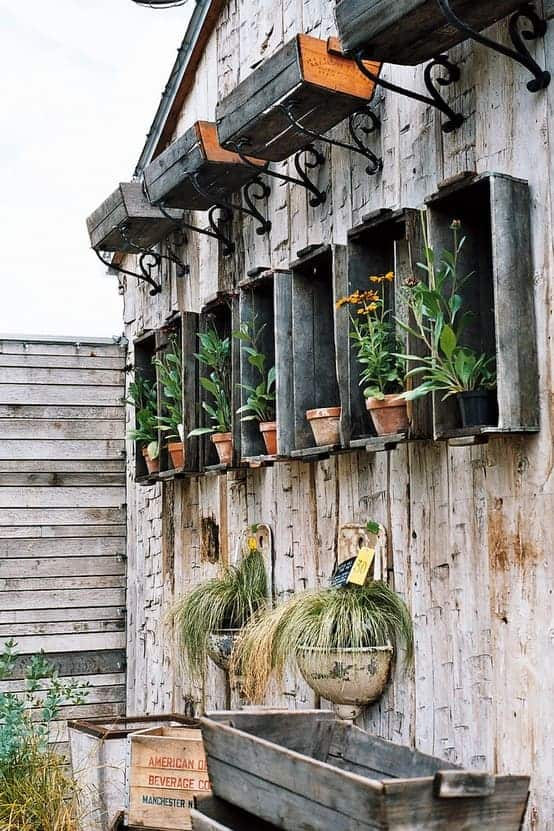 Garden Organization with Crates - flowers-plants-planters